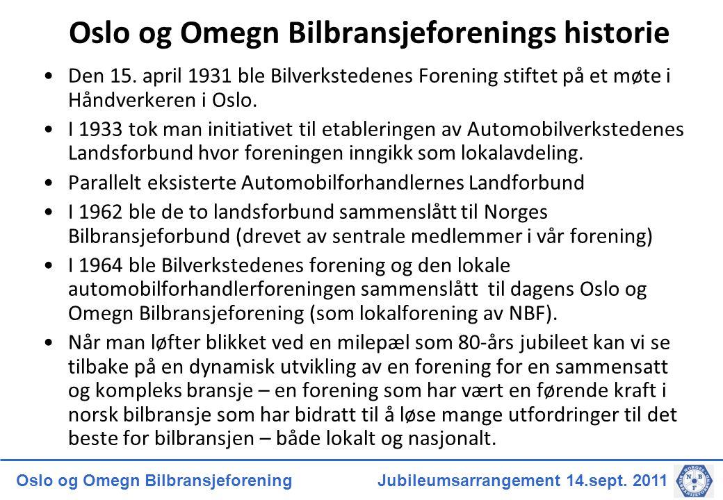 Oslo og Omegn Bilbransjeforenings historie
