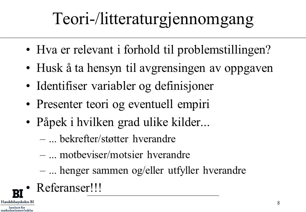 Teori-/litteraturgjennomgang