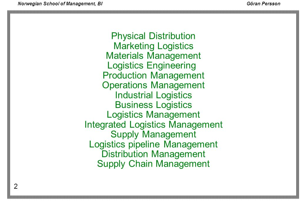 Physical Distribution Marketing Logistics Materials Management Logistics Engineering Production Management Operations Management Industrial Logistics Business Logistics Logistics Management Integrated Logistics Management Supply Management Logistics pipeline Management Distribution Management Supply Chain Management