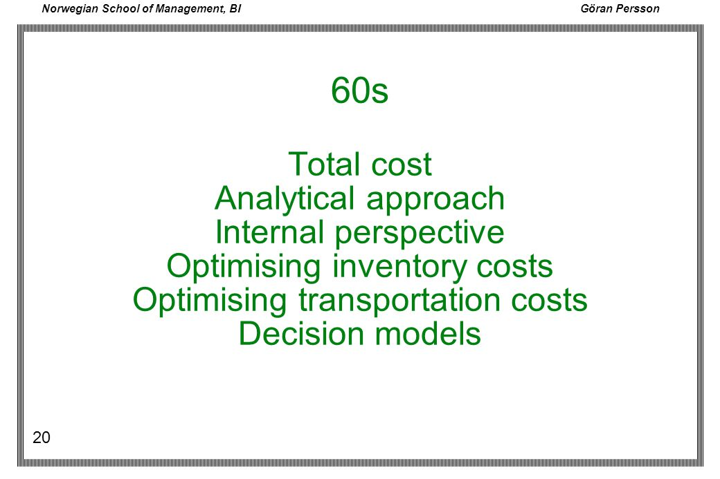 60s Total cost Analytical approach Internal perspective Optimising inventory costs Optimising transportation costs Decision models
