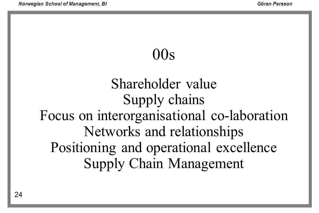 00s Shareholder value Supply chains
