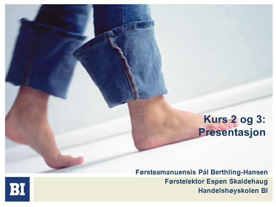 Kurs 2 og 3: Presentasjon Førsteamanuensis Pål Berthling-Hansen