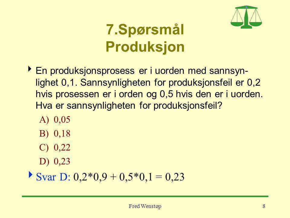 7.Spørsmål Produksjon Svar D: 0,2*0,9 + 0,5*0,1 = 0,23