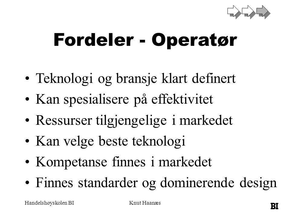 Fordeler - Operatør Teknologi og bransje klart definert