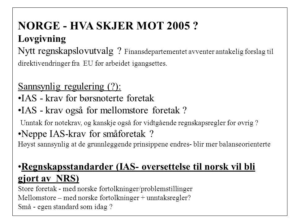 NORGE - HVA SKJER MOT 2005 Lovgivning