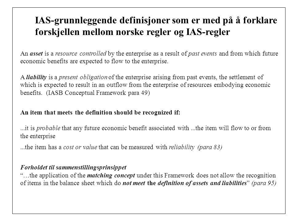 IAS-grunnleggende definisjoner som er med på å forklare