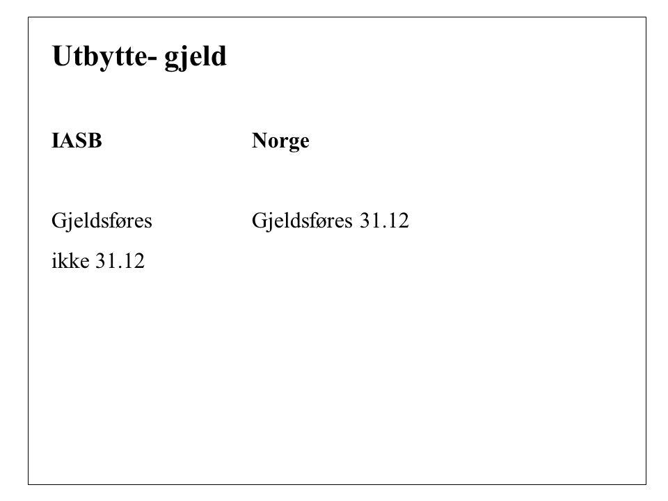 Utbytte- gjeld IASB Norge Gjeldsføres Gjeldsføres 31.12 ikke 31.12