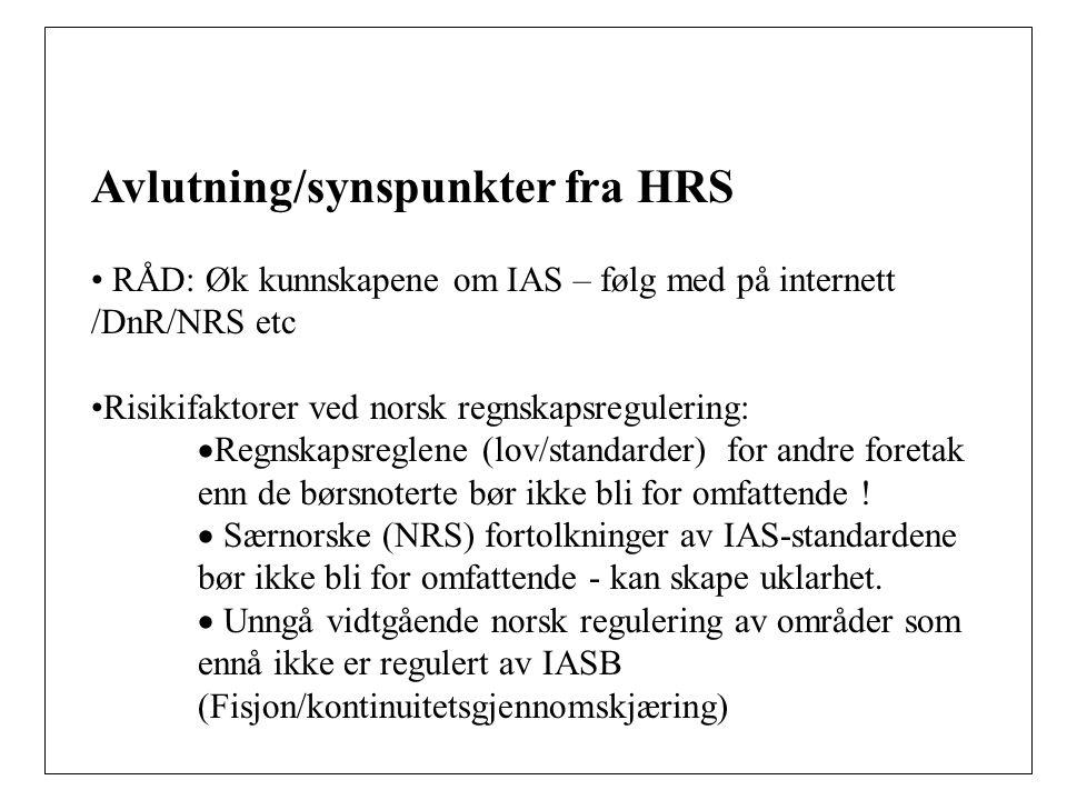 Avlutning/synspunkter fra HRS