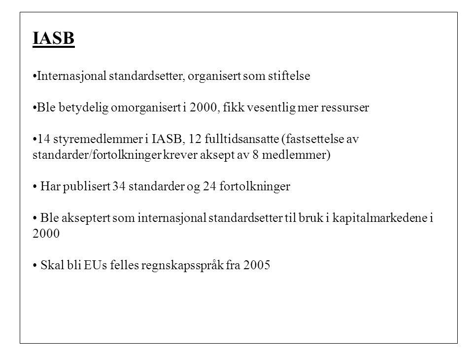 IASB Internasjonal standardsetter, organisert som stiftelse
