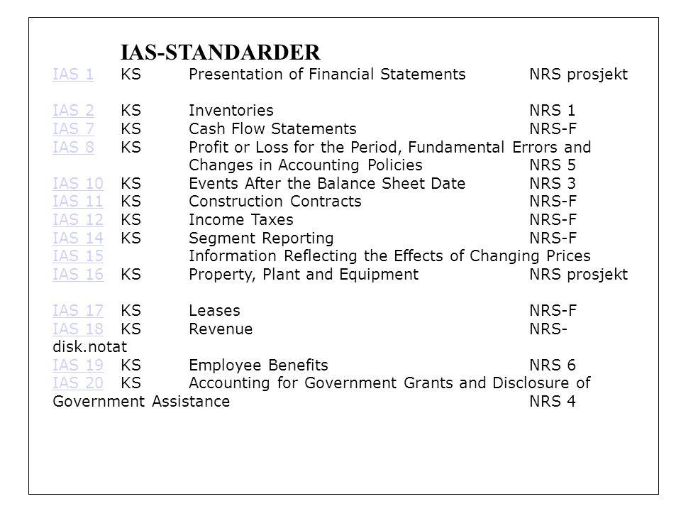 IAS-STANDARDER IAS 1 KS Presentation of Financial Statements NRS prosjekt. IAS 2 KS Inventories NRS 1.