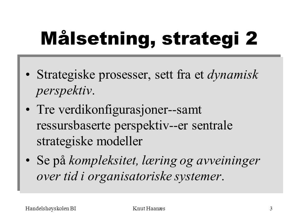 Målsetning, strategi 2 Strategiske prosesser, sett fra et dynamisk perspektiv.