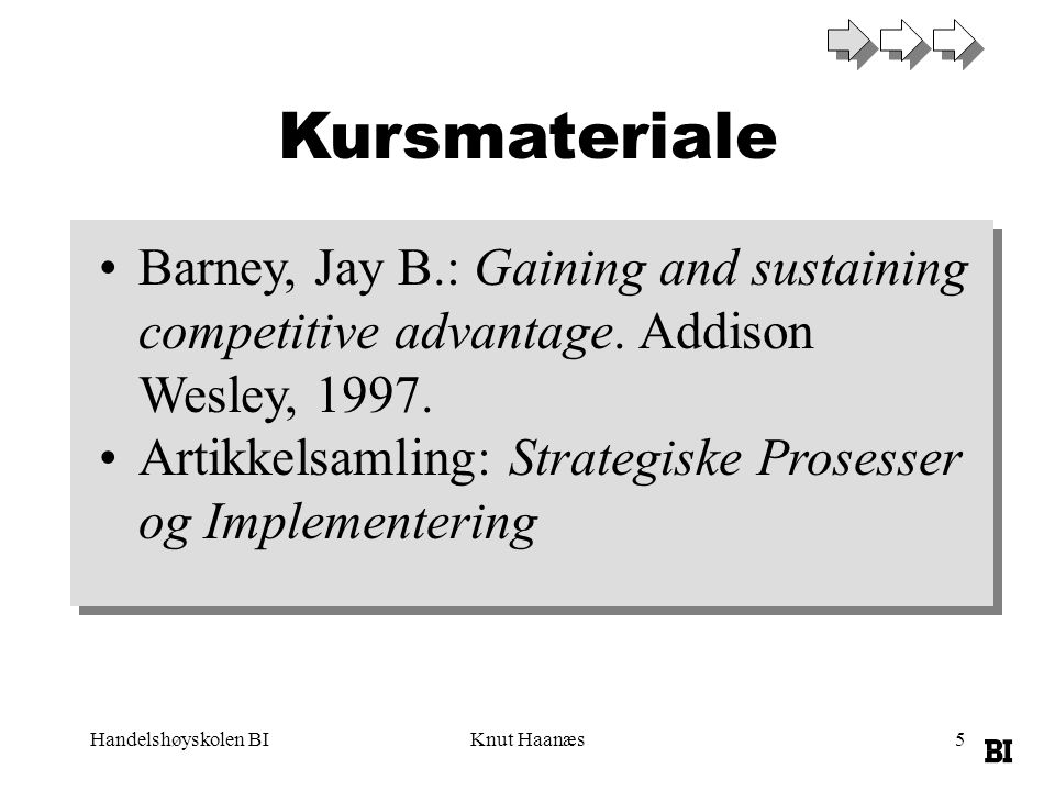 Kursmateriale Barney, Jay B.: Gaining and sustaining competitive advantage. Addison Wesley, 1997.