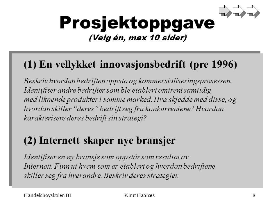 Prosjektoppgave (1) En vellykket innovasjonsbedrift (pre 1996)