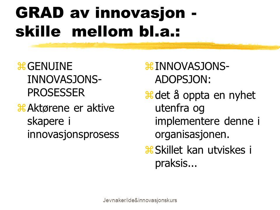 GRAD av innovasjon - skille mellom bl.a.:
