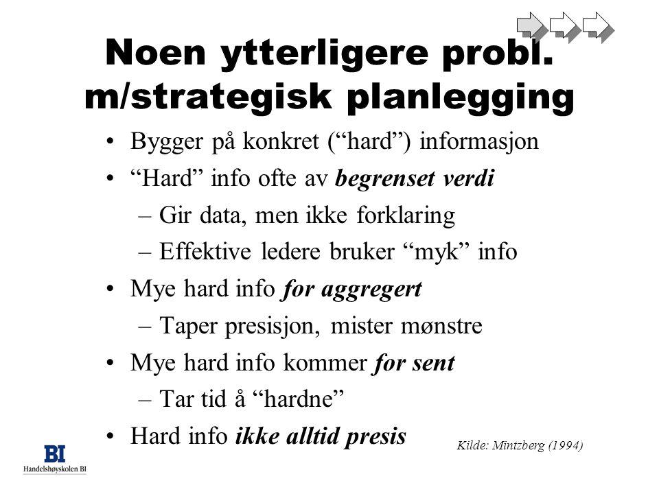 Noen ytterligere probl. m/strategisk planlegging
