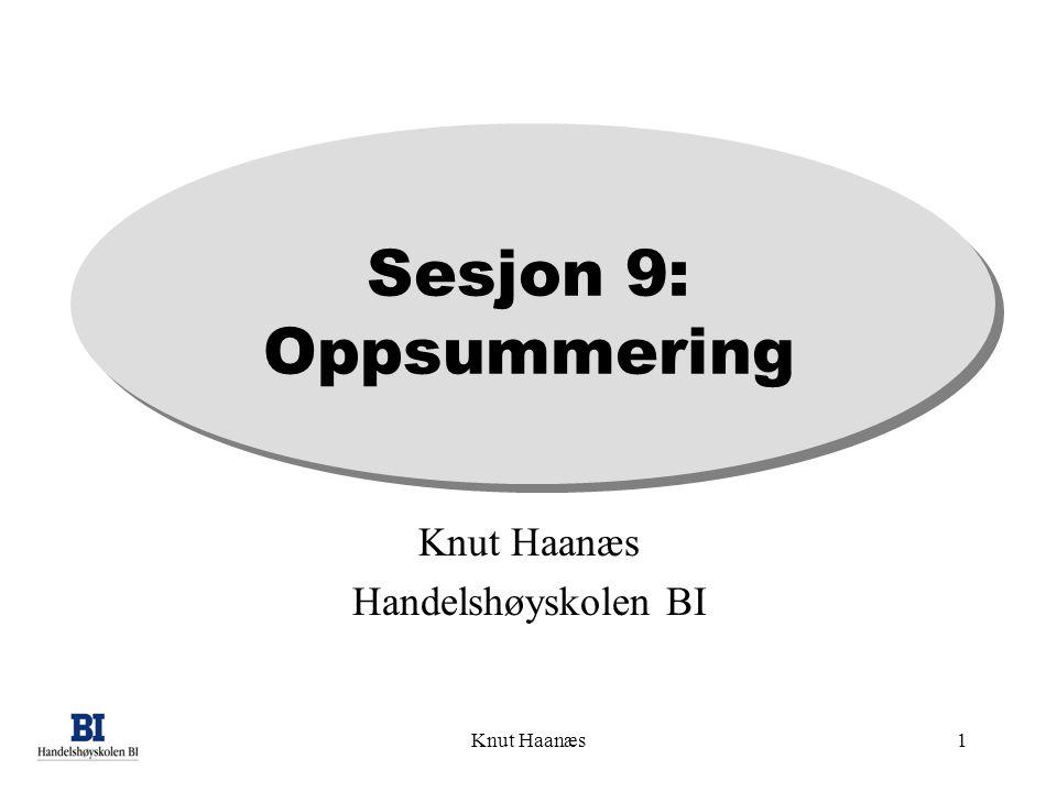 Sesjon 9: Oppsummering Knut Haanæs Handelshøyskolen BI Knut Haanæs