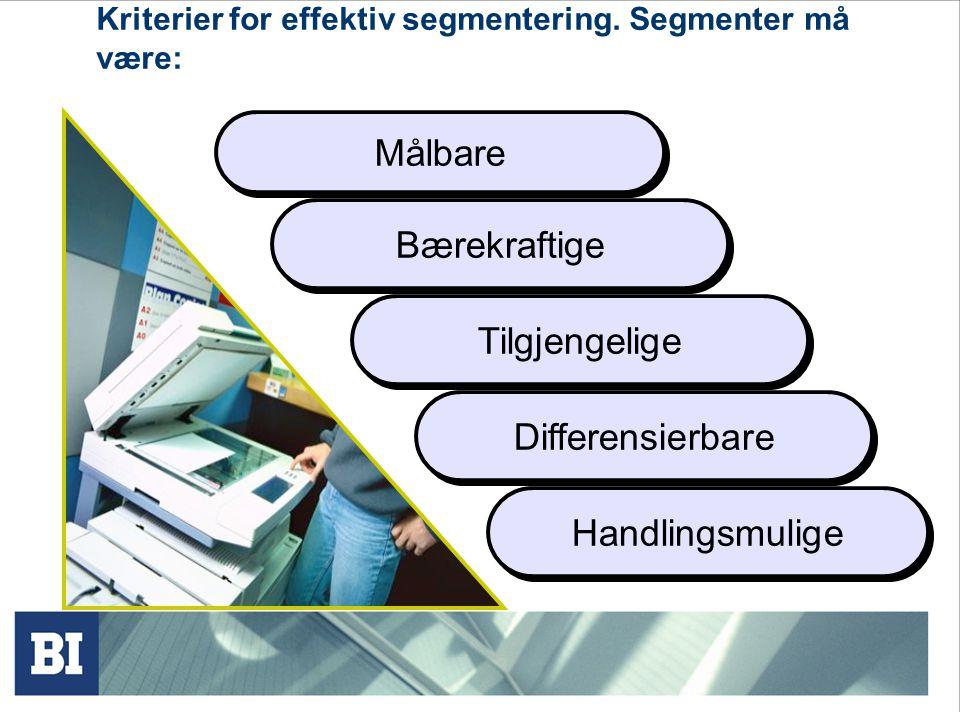 Kriterier for effektiv segmentering. Segmenter må være: