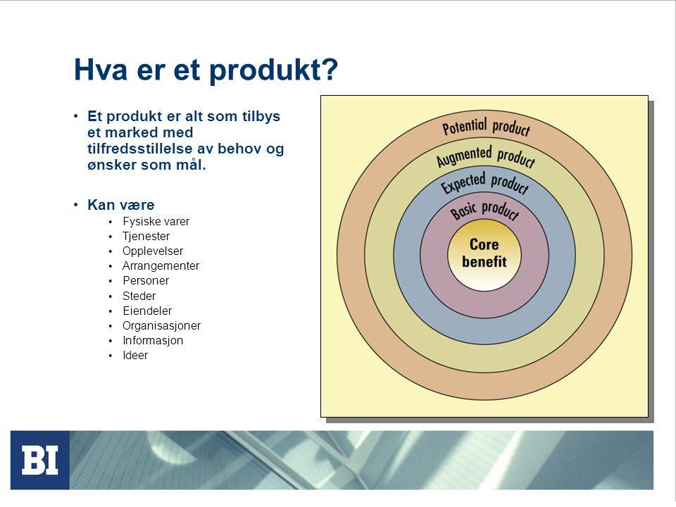 Hva er et produkt Et produkt er alt som tilbys et marked med tilfredsstillelse av behov og ønsker som mål.
