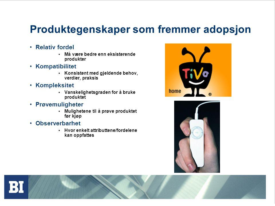 Produktegenskaper som fremmer adopsjon
