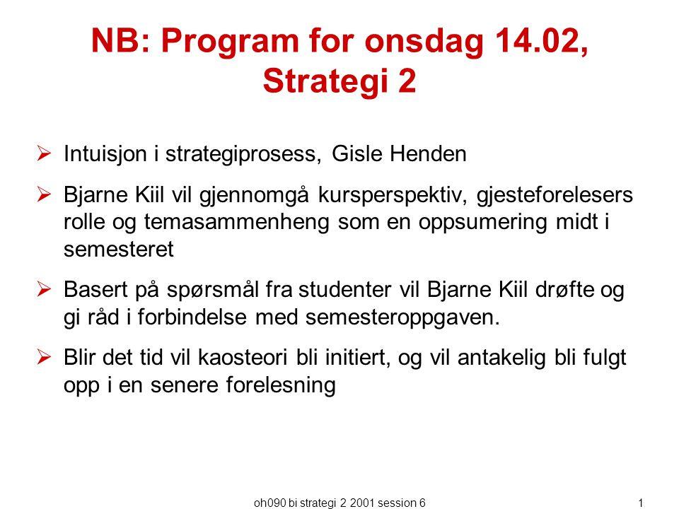 NB: Program for onsdag 14.02, Strategi 2