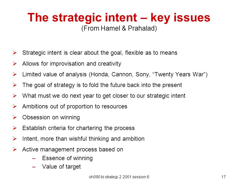 The strategic intent – key issues (From Hamel & Prahalad)