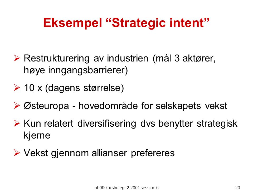 Eksempel Strategic intent