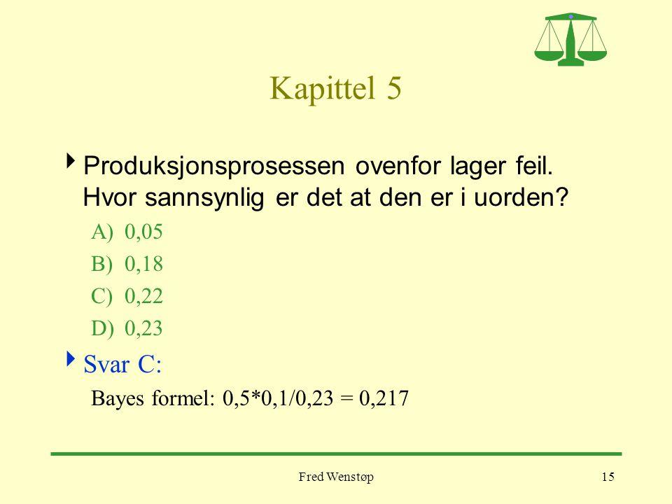Kapittel 5 Produksjonsprosessen ovenfor lager feil. Hvor sannsynlig er det at den er i uorden A) 0,05.