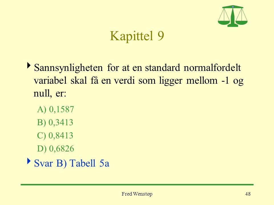 Kapittel 9 Sannsynligheten for at en standard normalfordelt variabel skal få en verdi som ligger mellom -1 og null, er: