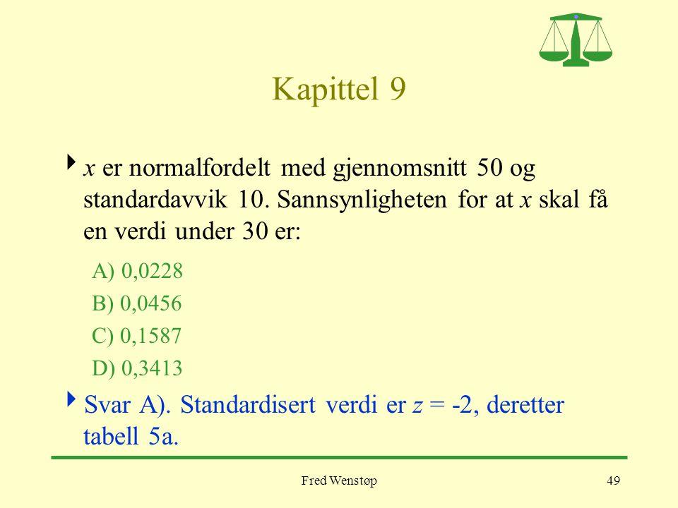 Kapittel 9 x er normalfordelt med gjennomsnitt 50 og standardavvik 10. Sannsynligheten for at x skal få en verdi under 30 er:
