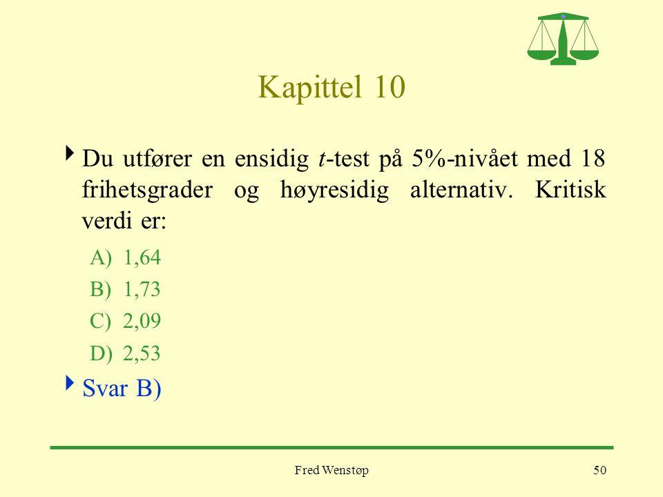 Kapittel 10 Du utfører en ensidig t-test på 5%-nivået med 18 frihetsgrader og høyresidig alternativ. Kritisk verdi er: