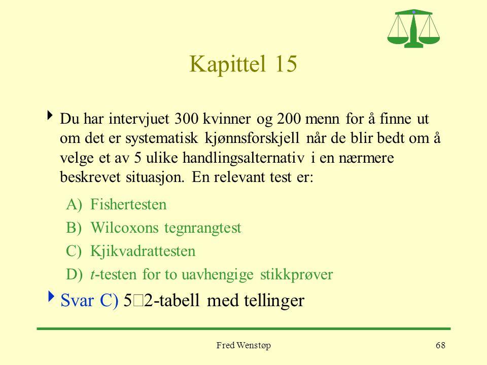 Kapittel 15 Svar C) 5´2-tabell med tellinger
