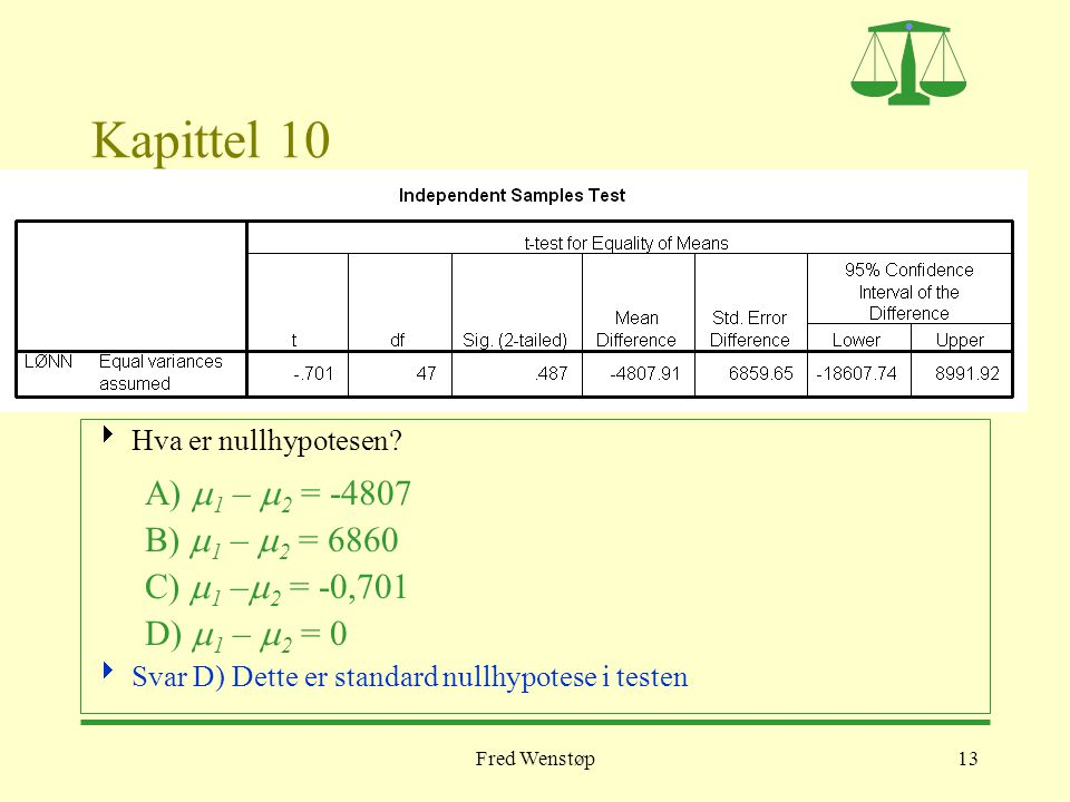 Kapittel 10 A) m1 – m2 = -4807 B) m1 – m2 = 6860 C) m1 –m2 = -0,701