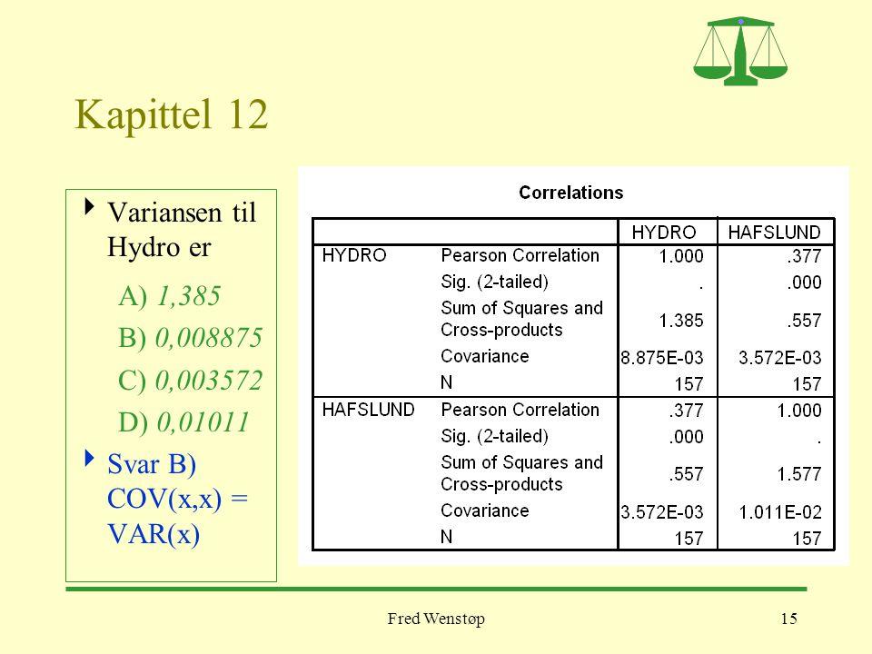 Kapittel 12 Variansen til Hydro er A) 1,385 B) 0,008875 C) 0,003572