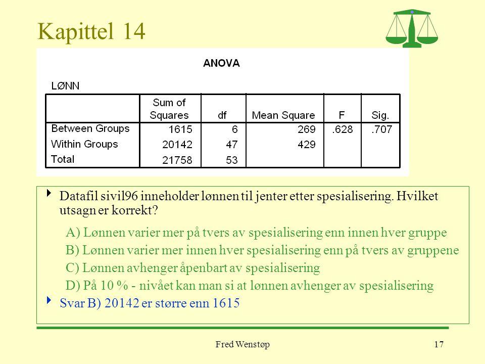 Kapittel 14 Datafil sivil96 inneholder lønnen til jenter etter spesialisering. Hvilket utsagn er korrekt
