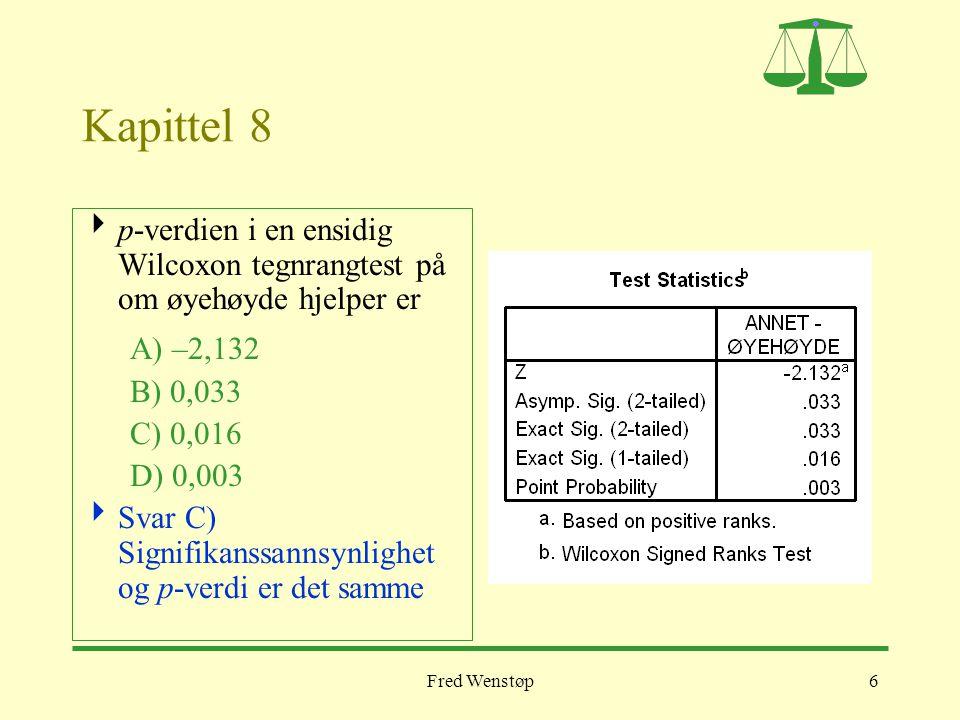 Kapittel 8 p-verdien i en ensidig Wilcoxon tegnrangtest på om øyehøyde hjelper er. A) –2,132. B) 0,033.