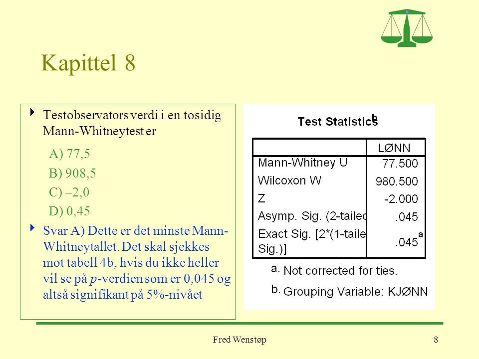 Kapittel 8 Testobservators verdi i en tosidig Mann-Whitneytest er