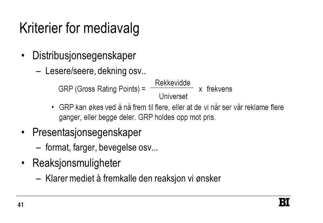 Kriterier for mediavalg