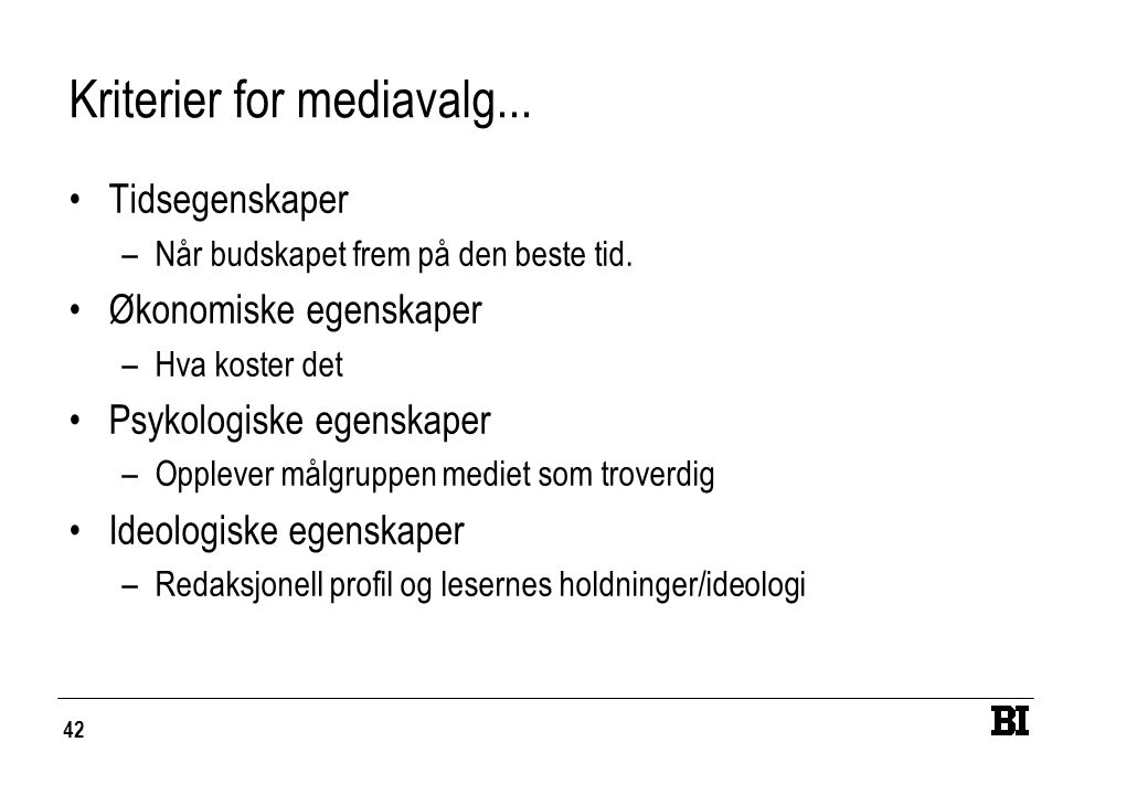 Kriterier for mediavalg...