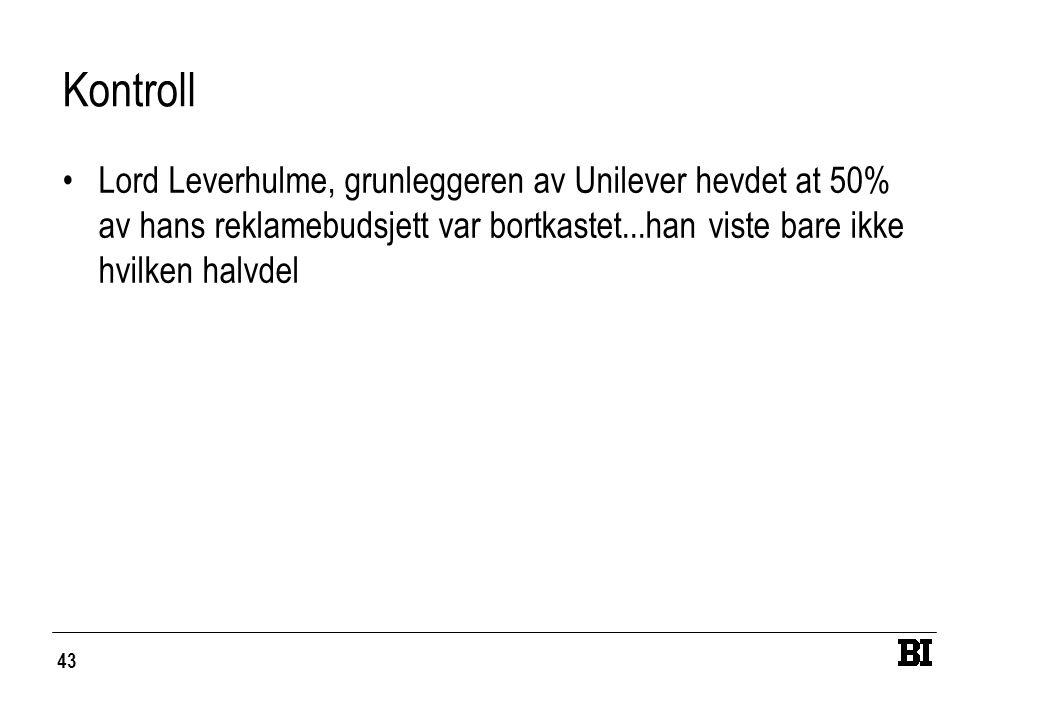 Kontroll Lord Leverhulme, grunleggeren av Unilever hevdet at 50% av hans reklamebudsjett var bortkastet...han viste bare ikke hvilken halvdel.