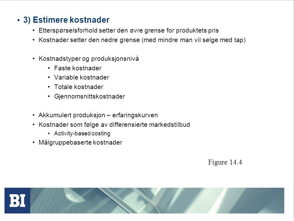 3) Estimere kostnader Figure 14.4