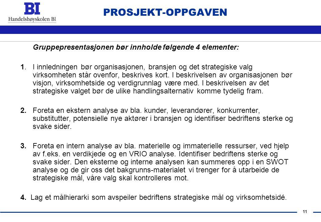 PROSJEKT-OPPGAVEN Gruppepresentasjonen bør innholde følgende 4 elementer: