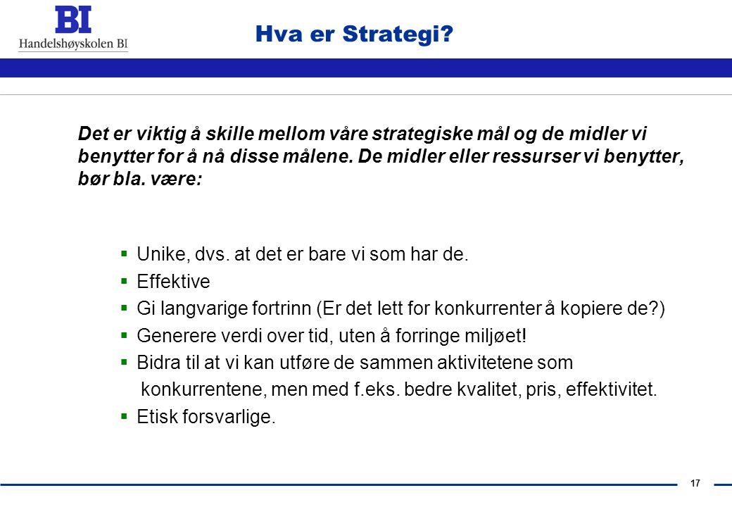 Hva er Strategi Unike, dvs. at det er bare vi som har de. Effektive