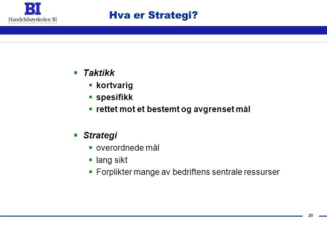 Hva er Strategi Taktikk Strategi kortvarig spesifikk