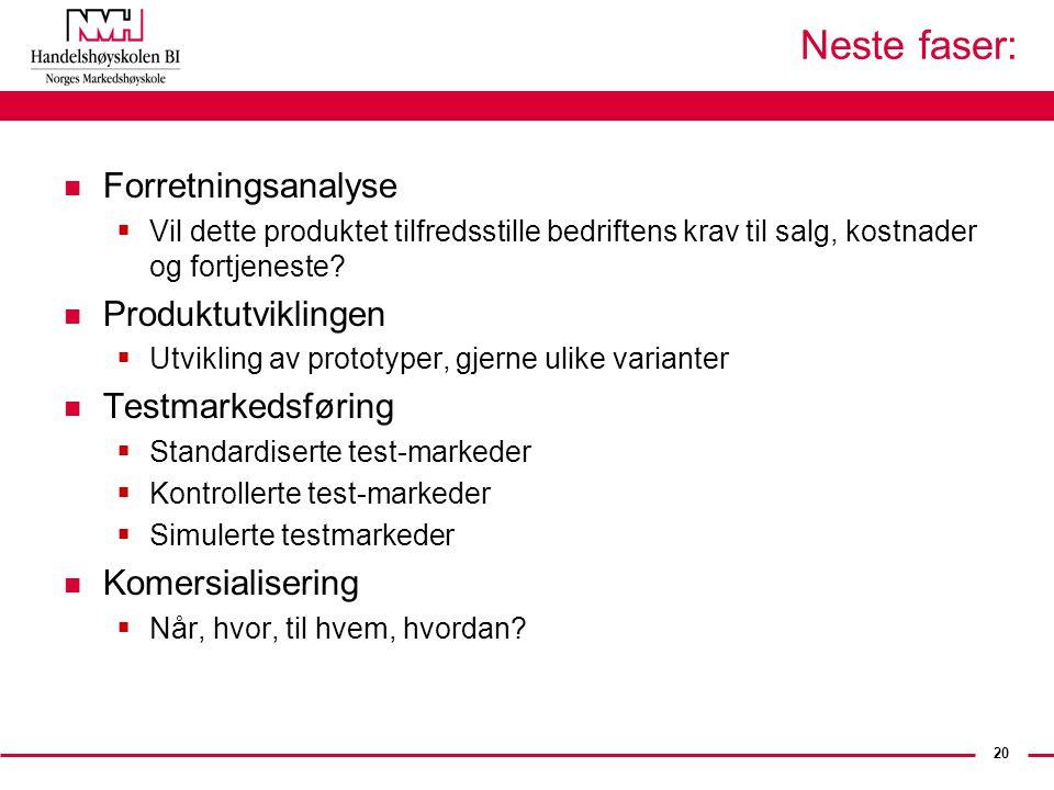 Neste faser: Forretningsanalyse Produktutviklingen Testmarkedsføring