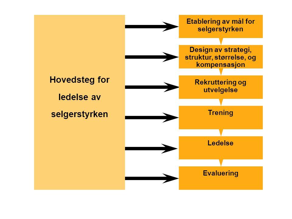 Hovedsteg for ledelse av selgerstyrken