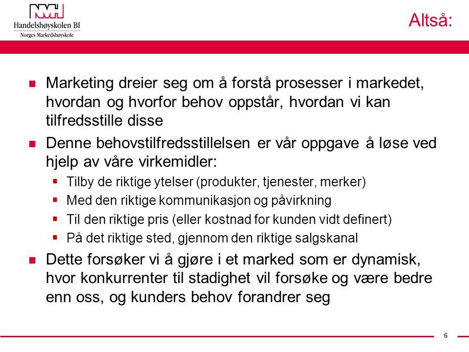 Altså: Marketing dreier seg om å forstå prosesser i markedet, hvordan og hvorfor behov oppstår, hvordan vi kan tilfredsstille disse.