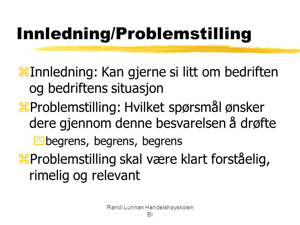 Innledning/Problemstilling