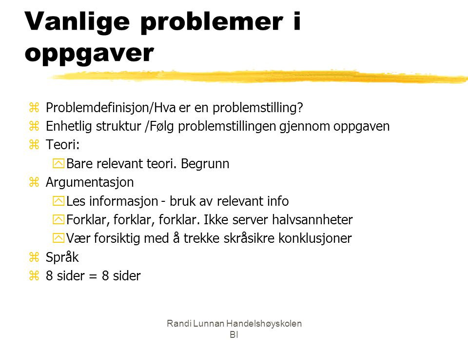 Vanlige problemer i oppgaver