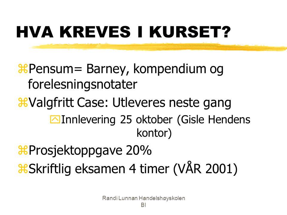 HVA KREVES I KURSET Pensum= Barney, kompendium og forelesningsnotater