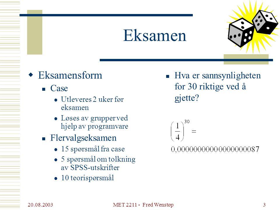 Eksamen Eksamensform. Case. Utleveres 2 uker før eksamen. Løses av grupper ved hjelp av programvare.